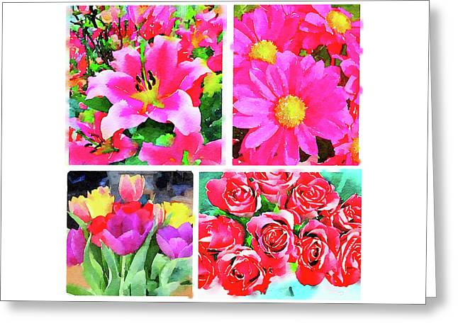 Collage Of Digital Watercolor Paintings Of Flowers Greeting Card by Anita Van Den Broek