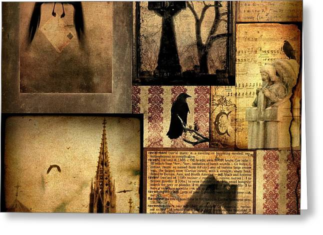 Collage Of Gothic Old  Greeting Card by Gothicolors Donna Snyder