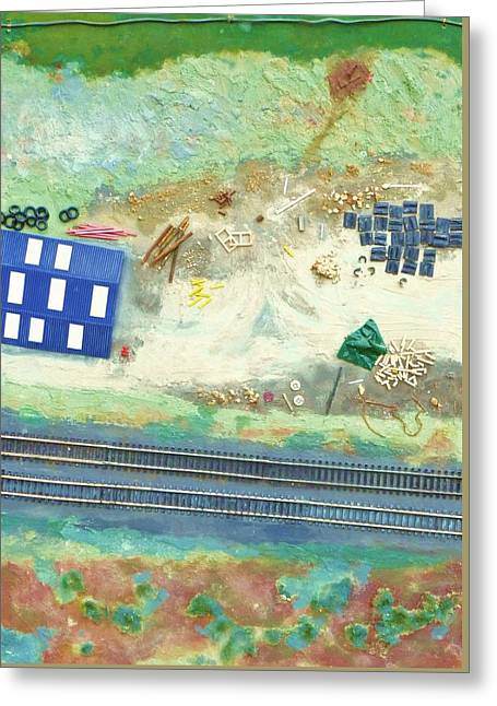 Shed Mixed Media Greeting Cards - Collage railroad yard with shed from a hot air balloon Greeting Card by Nigel Radcliffe
