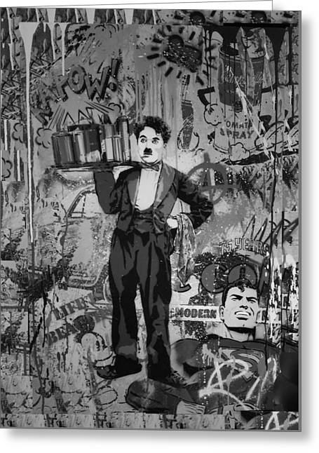Charlie Chaplin Poster Greeting Cards - Collageiscope B W Greeting Card by Rob Hans