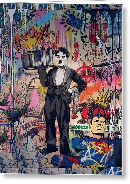 Charlie Chaplin Poster Greeting Cards - Collageiscope  Greeting Card by Rob Hans
