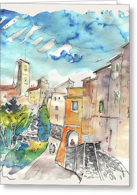 Townscape Drawings Greeting Cards - Colle d Val d Elsa in Italy 02 Greeting Card by Miki De Goodaboom