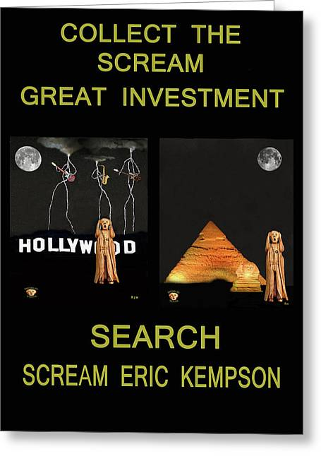 Olive Wood Sculpture Mixed Media Greeting Cards - Collect The Scream Great Investment Greeting Card by Eric Kempson