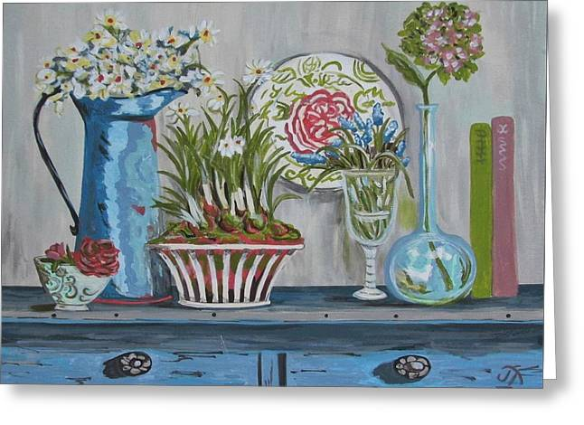 Glass Vase Greeting Cards - Collectibles Greeting Card by Jan Townsend