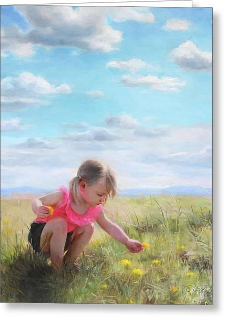 Collecting Dandelions Greeting Card by Anna Rose Bain