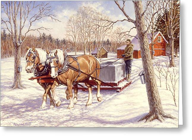 Richard De Wolfe Greeting Cards - Collecting The Sap Greeting Card by Richard De Wolfe