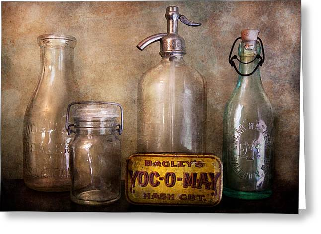 Collector - Bottle - Container Collection  Greeting Card by Mike Savad