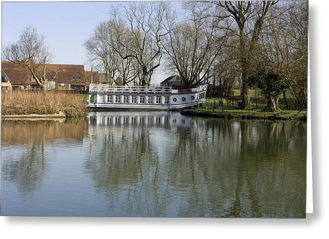 Barges Greeting Cards Greeting Cards - College Barge at Sandford UK Greeting Card by Mike Lester