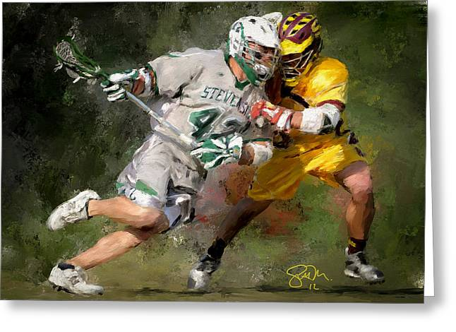Scott Melby Greeting Cards - College Lacrosse 8 Greeting Card by Scott Melby