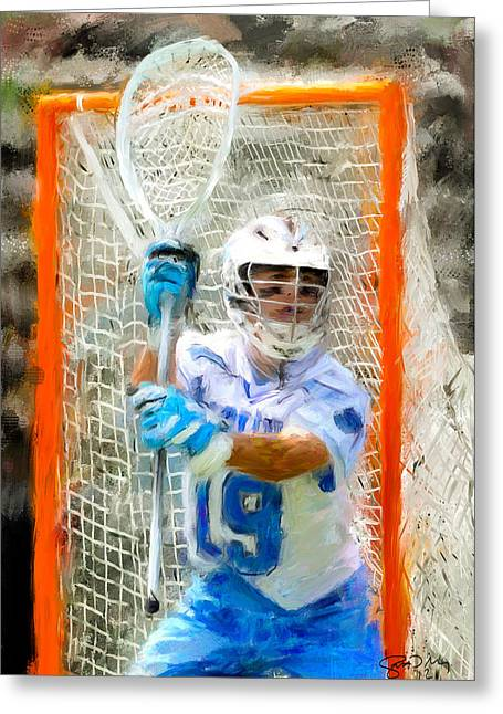 Scott Melby Greeting Cards - College Lacrosse Goalie Greeting Card by Scott Melby