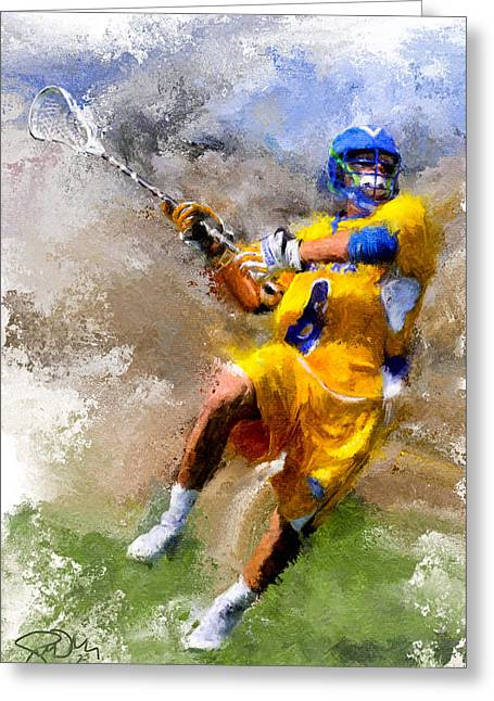 Scott Melby Greeting Cards - College Lacrosse Shot Greeting Card by Scott Melby