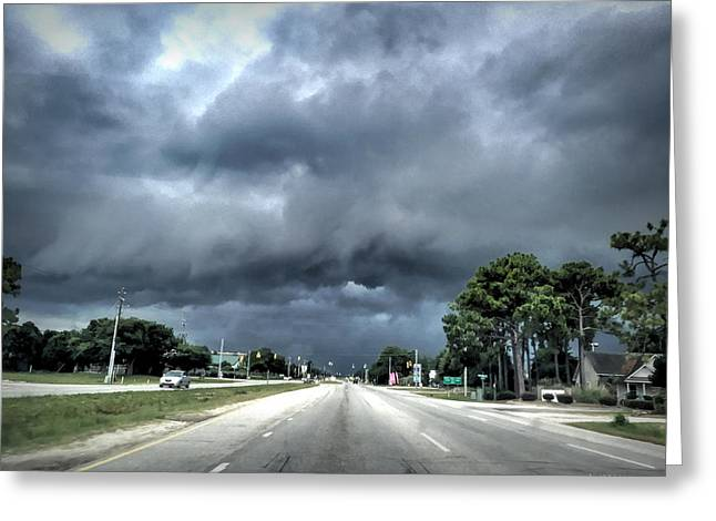 Storm Prints Digital Art Greeting Cards - College Road Storm Greeting Card by Phil Mancuso