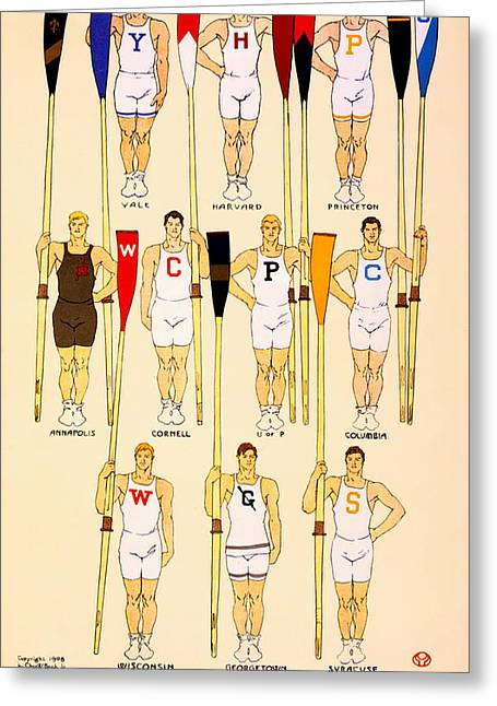 College Drawings Greeting Cards - College Rowing Crews 1908 Greeting Card by Edward Penfield
