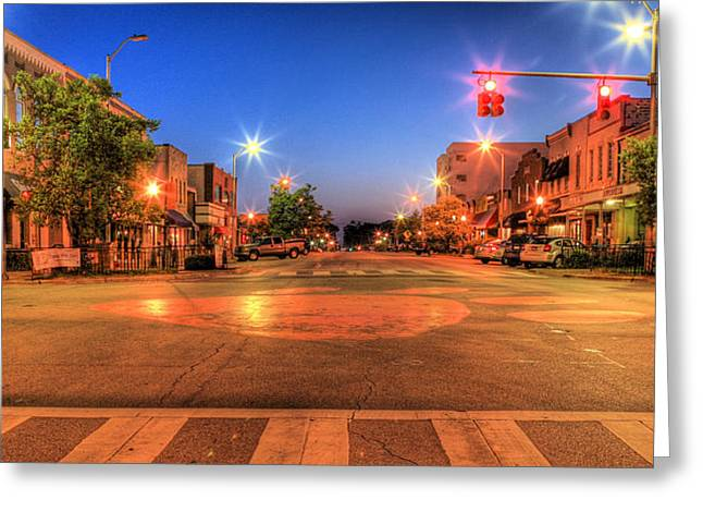 Toomers Corner Greeting Cards - College Street Greeting Card by JC Findley