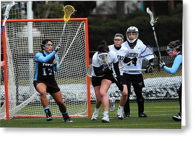 Nike Greeting Cards - Collegiate Womens Lacrosse Greeting Card by Mike Martin