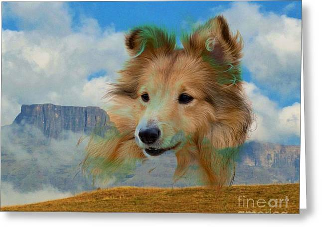 Dogs Digital Greeting Cards - Collie And Landscape Greeting Card by Annie Zeno