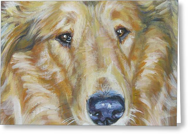 Collie Greeting Cards - Collie close up Greeting Card by Lee Ann Shepard