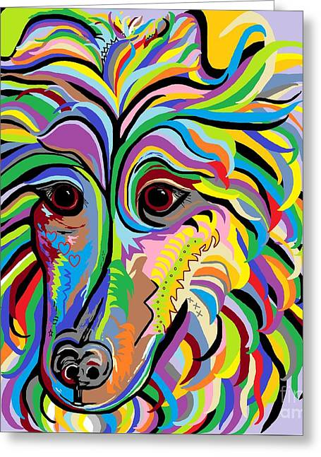 Bright Colors Greeting Cards - Collie Greeting Card by Eloise Schneider