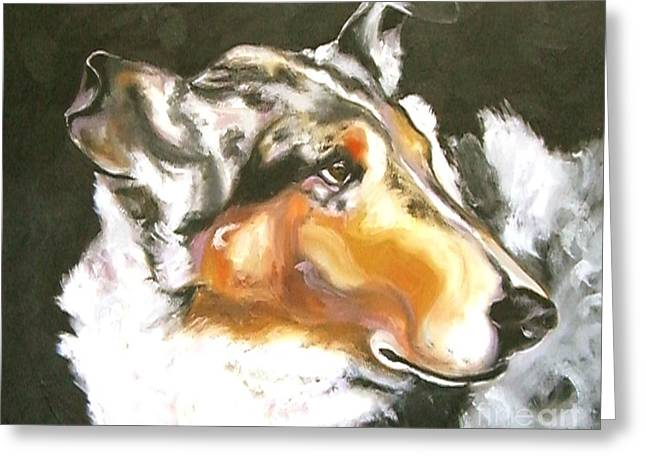 Smooth Drawings Greeting Cards - Collie Merle Smooth 2 Greeting Card by Susan A Becker