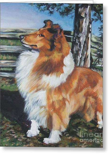 Collie Greeting Cards - Collie on the Farm Greeting Card by Lee Ann Shepard