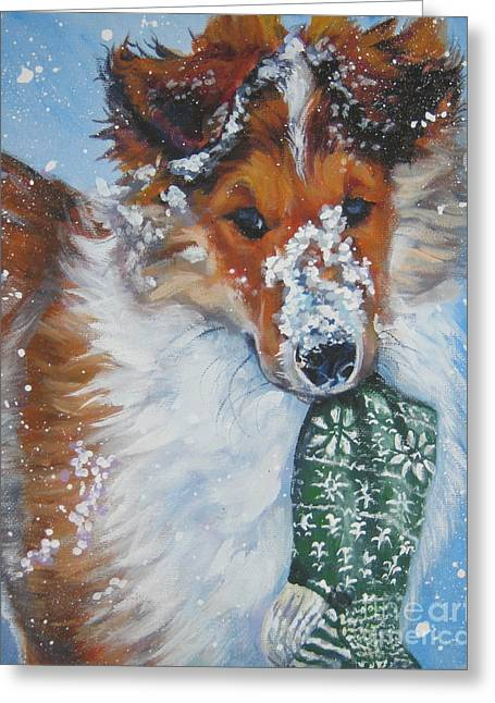 Collie Greeting Cards - Collie puppy with Xmas stocking Greeting Card by LA Shepard