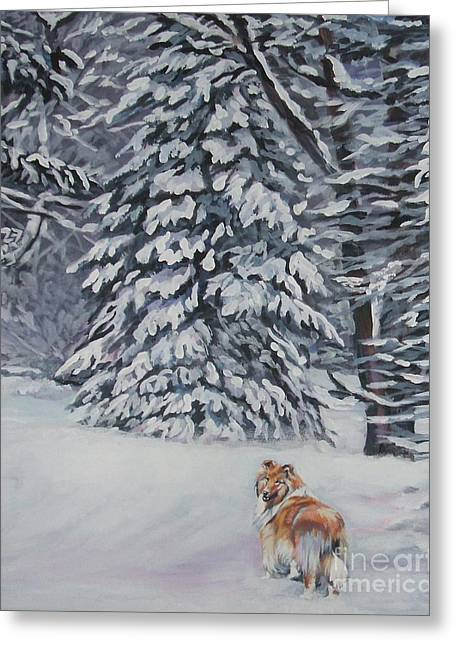 Collie Greeting Cards - Collie sable Christmas tree Greeting Card by L A Shepard