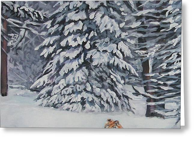 Collie sable Christmas tree Greeting Card by L A Shepard