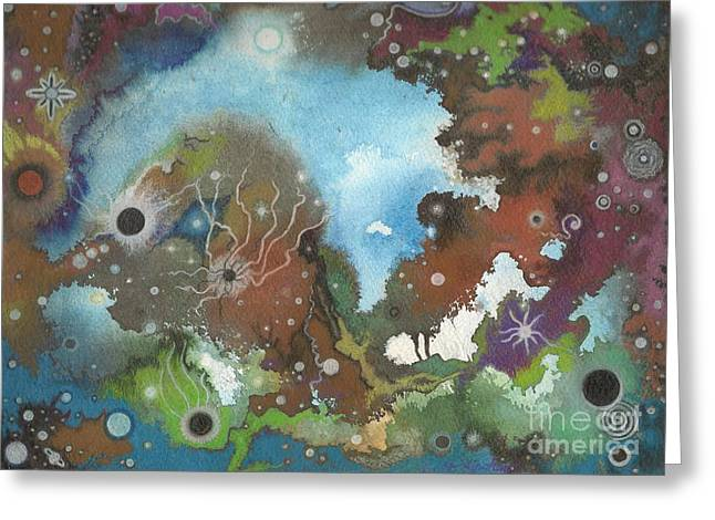 Planetary Mixed Media Greeting Cards - Collision Course Planetary Choas Greeting Card by Janet Hinshaw