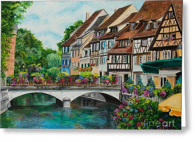 Reflections In River Greeting Cards - Colmar In Full Bloom Greeting Card by Charlotte Blanchard