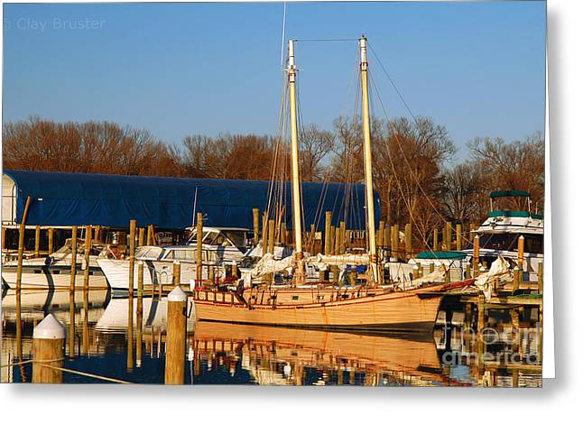 Bruster Greeting Cards - Colonial Beach Docks Greeting Card by Clayton Bruster