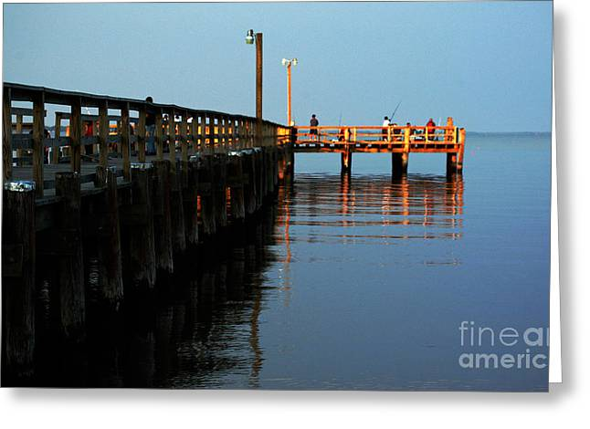 Town Pier Greeting Cards - Colonial Beach Town Pier Greeting Card by Clayton Bruster
