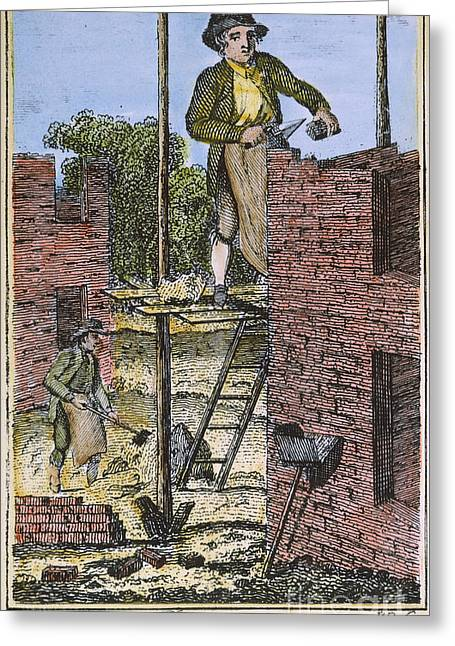 Apprentice Greeting Cards - COLONIAL BRICKLAYER, 18th C Greeting Card by Granger