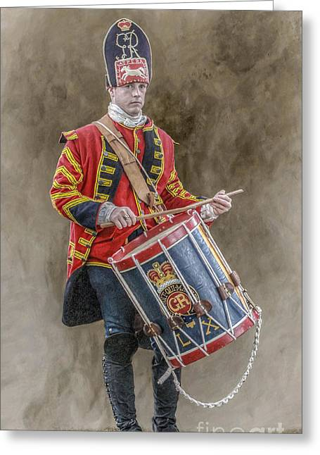 Youthful Digital Greeting Cards - Colonial British Drummer Portrait Greeting Card by Randy Steele