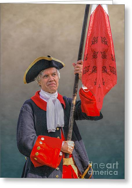 Colonial Flag Greeting Cards - Colonial French Flag Bearer Greeting Card by Randy Steele
