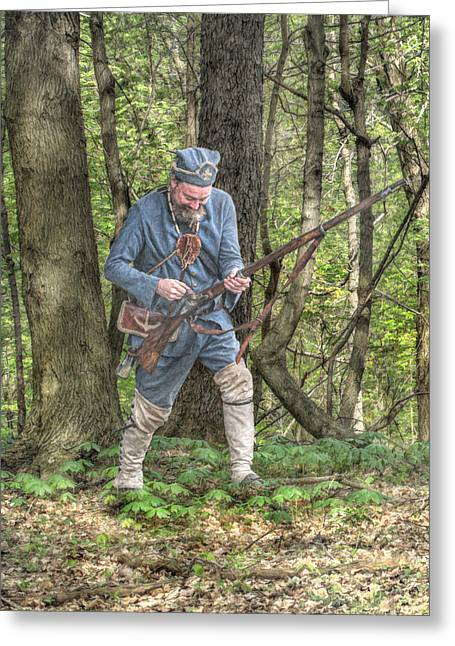 Muzzleloader Greeting Cards - Colonial French Marine in Forest Portrait Greeting Card by Randy Steele