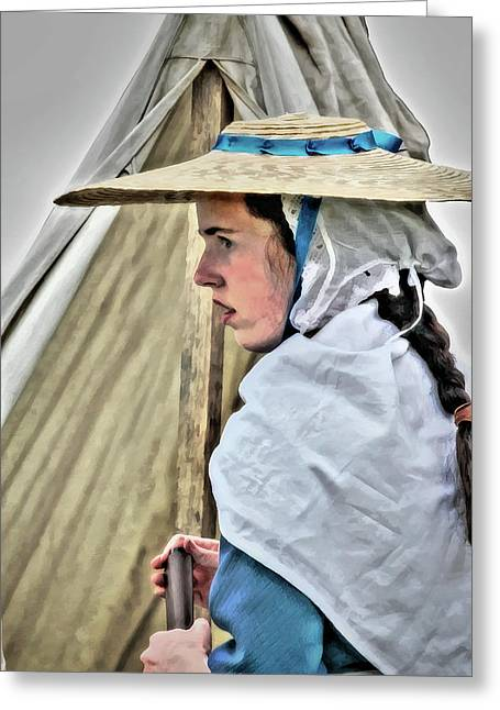 Fort Pitt Greeting Cards - Colonial Girl in Army Camp Greeting Card by Randy Steele