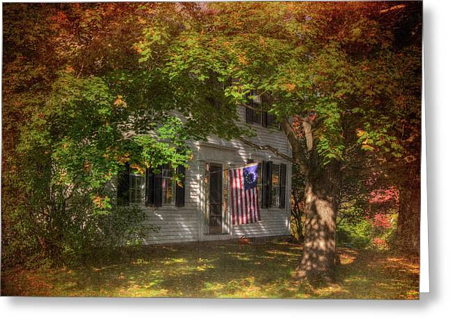 Colonial Home With Flag In Autumn Greeting Card by Joann Vitali