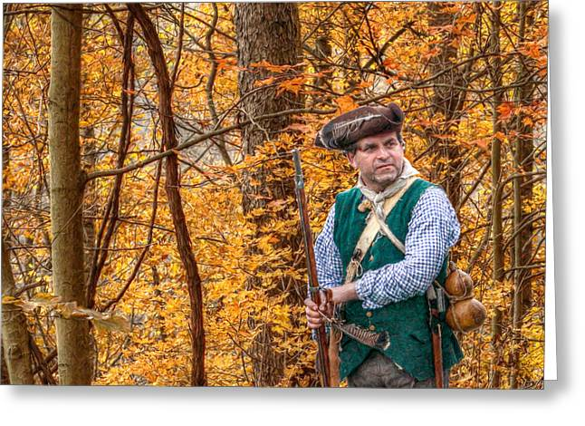 Citizens Greeting Cards - Colonial Hunter Greeting Card by Randy Steele