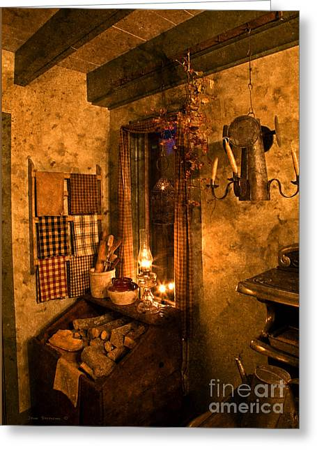Colonial Kitchen Evening Greeting Card by John Stephens