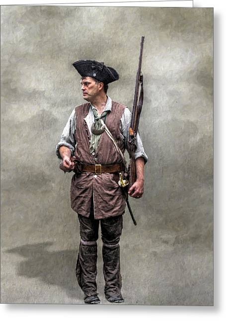 Citizen Soldier Greeting Cards - Colonial Militia Soldier 1777 Greeting Card by Randy Steele