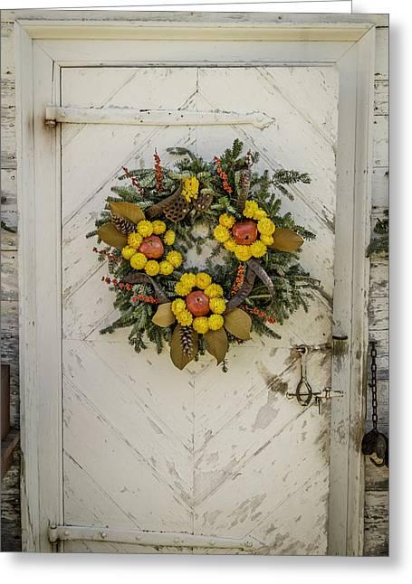 Colonial Nursery Door At Christmas Greeting Card by Teresa Mucha