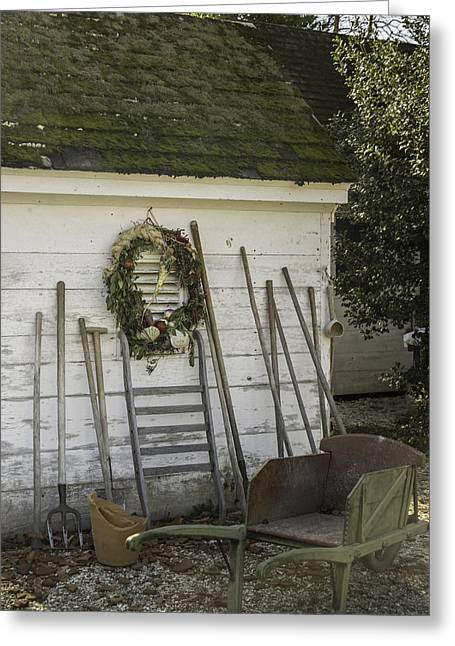 Colonial Nursery Potting Shed Greeting Card by Teresa Mucha