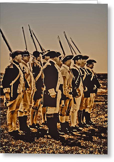 Redcoats Greeting Cards - Colonial Soldiers on Parade Greeting Card by Bill Cannon