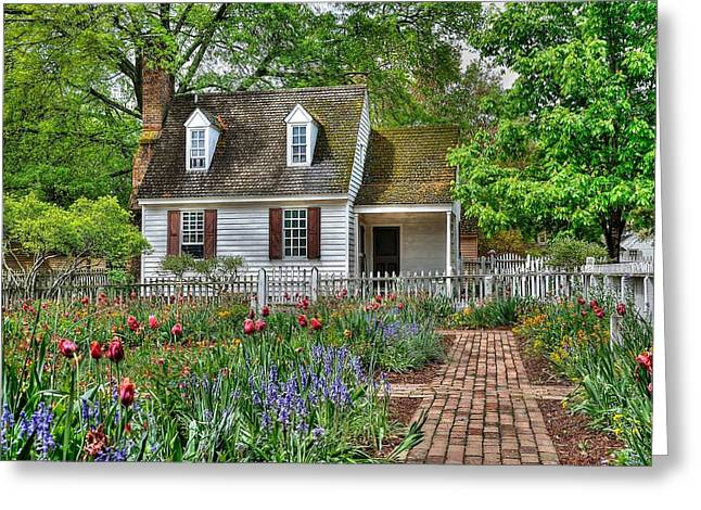 Colonial Williamsburg Flower Garden Greeting Card by Todd Hostetter