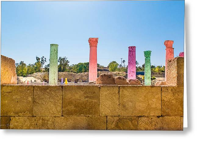 Historic Site Greeting Cards - Colonnade In Beit She An Israel Greeting Card by Sharon Yanai