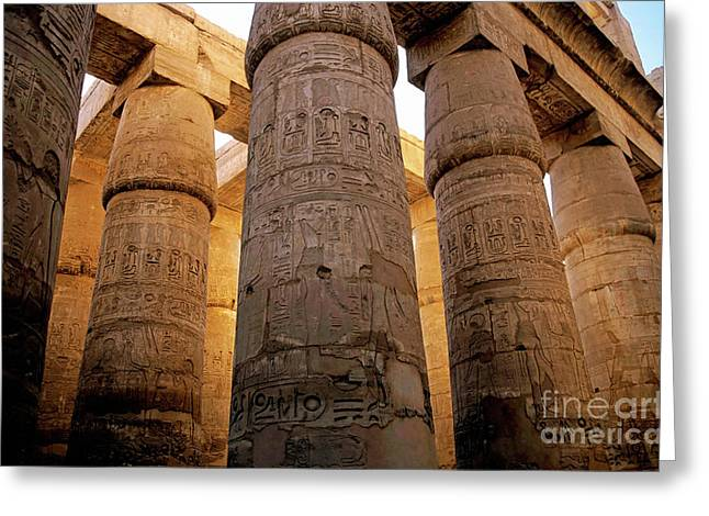 Colonnade in the Karnak Temple Complex at Luxor Greeting Card by Sami Sarkis