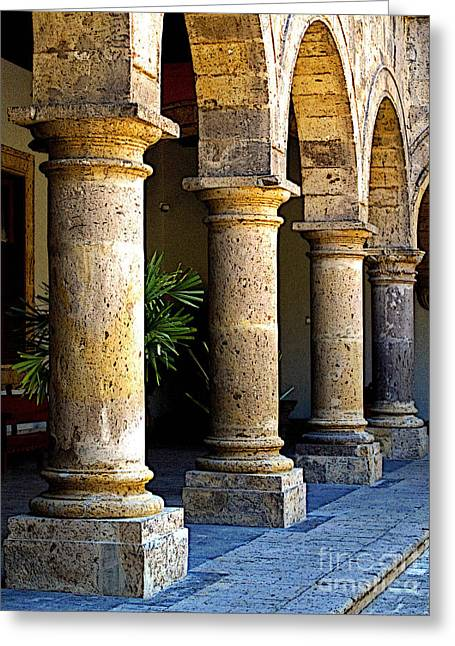 Guadalajara Greeting Cards - Colonnades Greeting Card by Olden Mexico