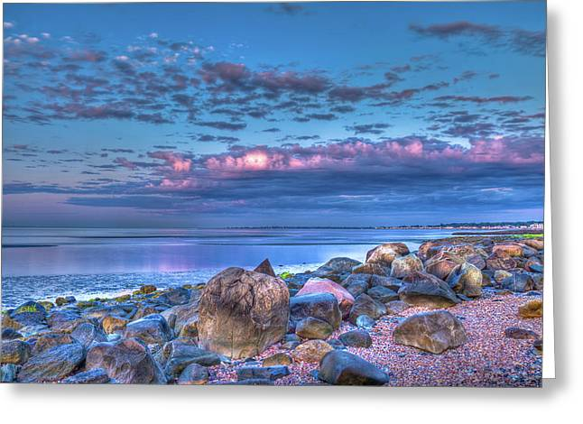 Just A Shell Greeting Cards - Color Blast Beach Rocks And Sky Greeting Card by John Supan
