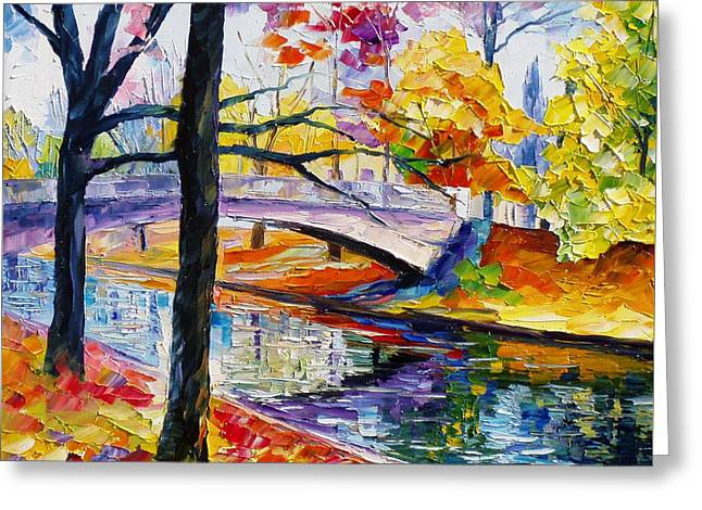 Popular Art Greeting Cards - Color Bridge - PALETTE KNIFE Oil Painting On Canvas By Leonid Afremov Greeting Card by Leonid Afremov