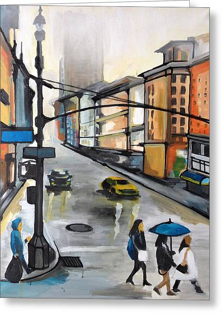 Illustrative Mixed Media Greeting Cards - Color City Greeting Card by Rinalds Vanadzinsh